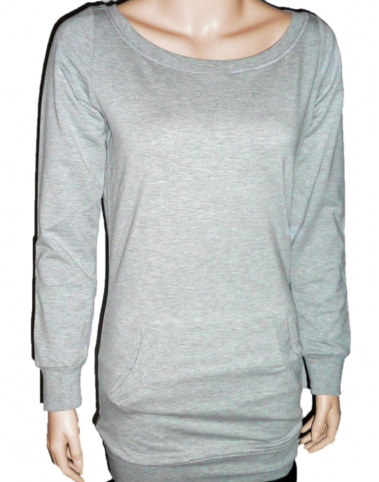 LONG CREWNECK - Sweatshirt Damen - grau - Urban Classics