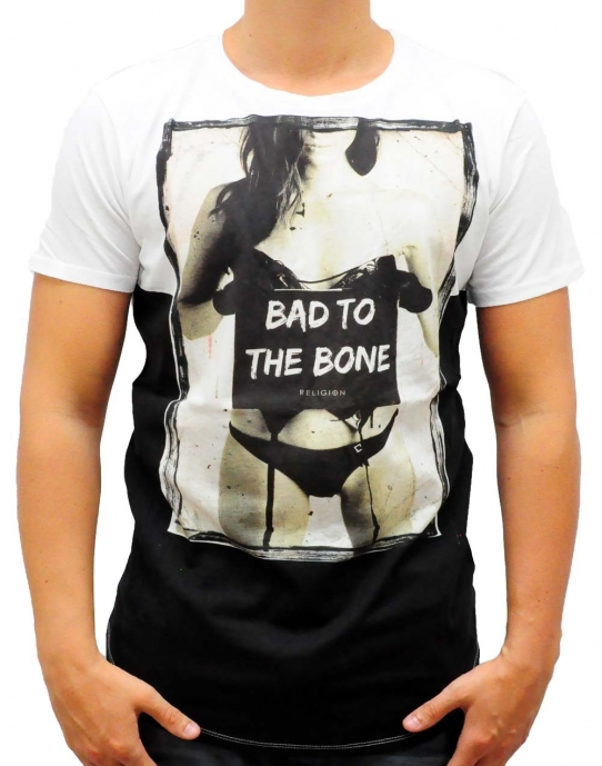 BAD TO THE BONE - T-Shirt - weiß - Religion